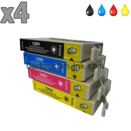 4 cartouches compatibles Epson T1291 à T1294 lot T1295