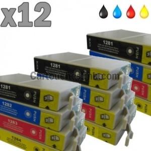 12 cartouches compatibles epson t1281 t1284 lot t1285. Black Bedroom Furniture Sets. Home Design Ideas