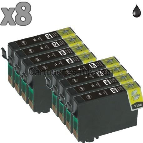 8 cartouches compatibles Epson T1281 noir