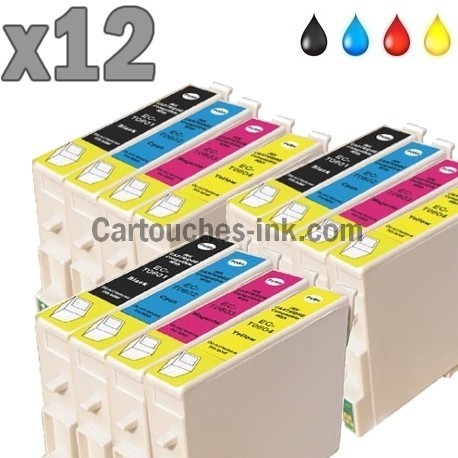 12 cartouches compatibles Epson T0551 à T0554 lot T0556