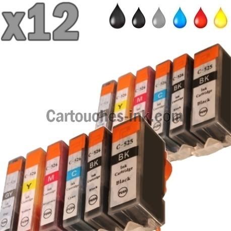 12 cartouches compatibles Canon PGI-525 CLI-526