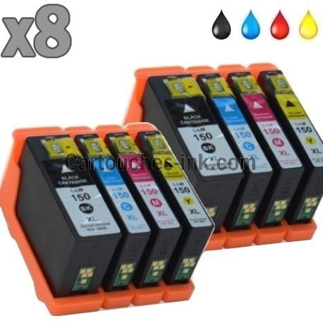 8 cartouches compatibles Lexmark 150XL / 155XL