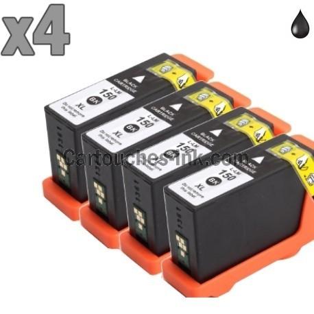 4 cartouches noir compatibles Lexmark 150XL / 155XL