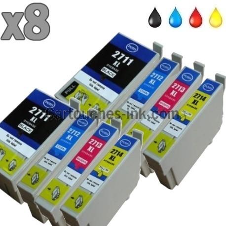 8 cartouches compatibles Epson T2711, T2712, T2713, T2714, T2715, 27XL.