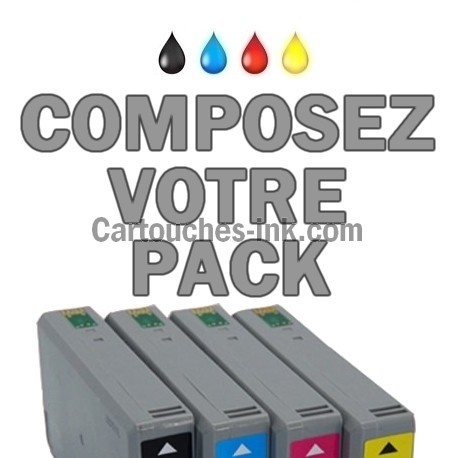 Cartouches compatibles Epson T7011, T7012, T7013, T7014, lot T7015