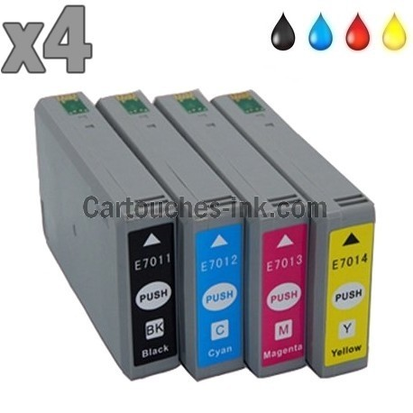 4 cartouches compatibles Epson T7011, T7012, T7013, T7014, lot T7015